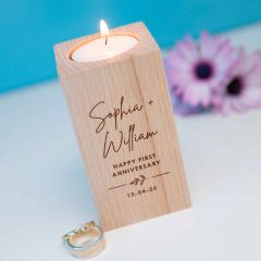 Personalised Engraved Wooden Tealight Holder Anniversary Gift