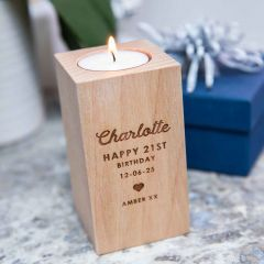 Personalised Engraved Wooden Tealight Holder Birthday Gift