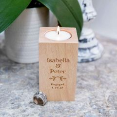 Personalised Engraved Wooden Tealight Holder Engagement Gift