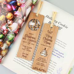 Personalised Engraved Wooden Secret Santa Christmas Bookmark Gift