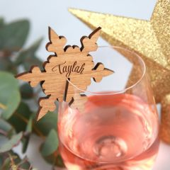 Personalised Engraved Wooden Christmas Laser Cut Snowflake Glassware Place card