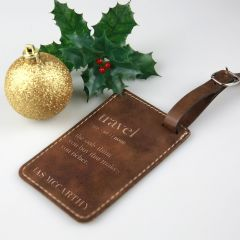 Personalised Engraved Christmas Leatherette Luggage Tag Present