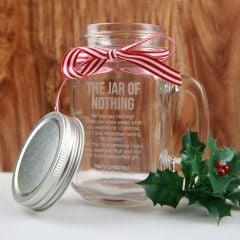 Personalised Engraved 'Jar of Nothing' Christmas Mason Jar Present