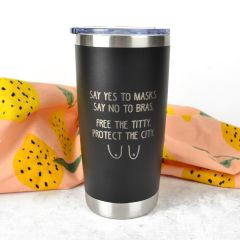 "Personalised Engraved ""Say Yes to Masks"" Engraved Stainless Steel Insulated Travel Mug 590ml Gift"