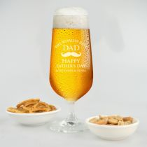 Personalised Engraved Father's Day 410ml stemmed Beer glasses Present