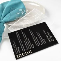 Personalised Engraved Clear, Frost & Black Acrylic Wedding Reception Menus