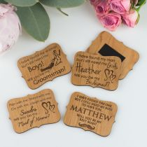 Engraved Personalised Wooden Bridal Party Acceptance Card