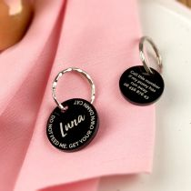 Personalised Engraved Cheeky Acrylic Black Pet Dog Tags