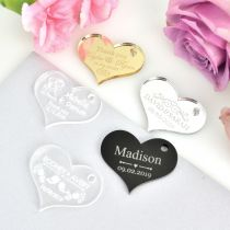 Engraved Personalised gold, silver, black, frosted and clear heart shaped wedding favour gift tags
