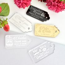 Personalised Engraved Acrylic Silver, Gold, Black, White, Frosted Wedding Favour Gift Tags