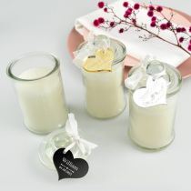 Personalised jasmine scented candle with acrylic gift tag