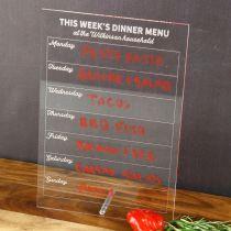 Personalised Engraved Weekly dinner menu organiser
