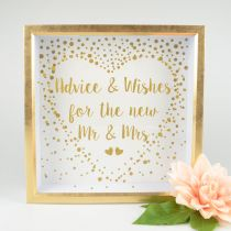 Gold and white Advice and Wishes Box for wedding reception