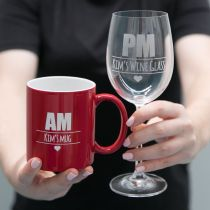 Personalised Engraved Mother's Day Am Red Mug and PM Wine Glass Present