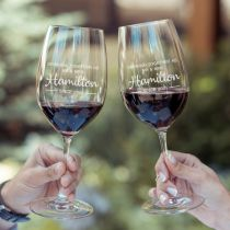 "Personalised Engraved Anniversary ""Drink together as Mr & Mrs Surname"" Wine Glasses"