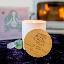 Personalised Engraved Wooden Lid Zodiac Soy Candle Aquarius with Wood Wick