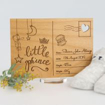 Personalised Engraved Wooden Baby Announcement or keepsake Postcard with Stand  Present