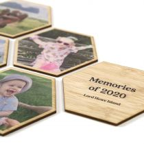 Personalised Magnetic Hexagon Shaped Bamboo Photo Prints Set of 6 Mother's Day Present