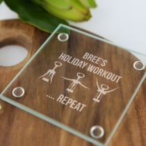 "Personalised Engraved ""Holiday Workout"" Glass Coaster Gift"