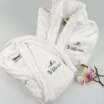 Personalised Embroidered His & Her Valentine's Bathrobe Set Present