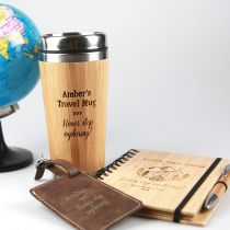 Personalised Travel Hamper include engraved travel mug, travel journal and leather luggage tag.