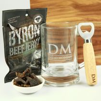 Personalised Engraved Father's Day Beef Jerky Hamper- beef Jerky, Glass Beer Stein Mug and wooden bottle opener.