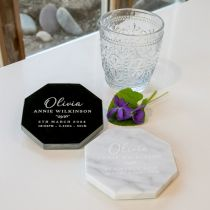 Personalised Engraved Black and White Octagonal Birth Announcements Marble Coasters Gift