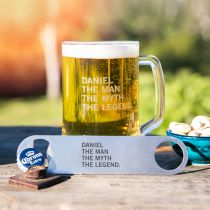 Personalised Gift Boxed Engraved Birthday 500ml Beer Mug and Stainless Steel Barmate Present