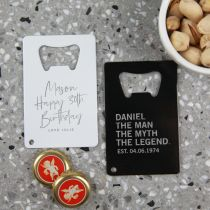 """Custom Engraved White and Black Metal Credit Card """"the man the myth the legend"""" Birthday Bottle Opener Present"""