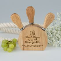 Personalised Engraved Wooden Cheese Block Set Birthday Present
