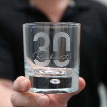 Personalised Engraved 30th Milestone Birthday Round Scotch Glass Present