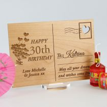 Personalised Engraved Wooden 30th Birthday Postcard