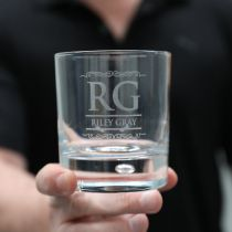 Personalised Engraved Round Scotch Whiskey Glass Birthday Present