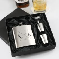 Personalised Engraved Birthday 6oz Silver Hip Flask with Funnel and Shot Glasses Present