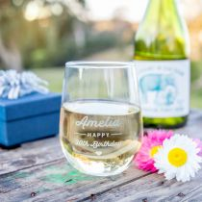 Personalised Engraved Stemless Premium Wine Glass Birthday Present