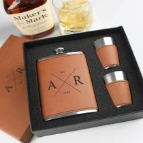 Personalised Engraved Birthday Tan Leatherette 8oz Hip Flask Set Present
