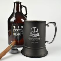 Personalised Engraved Black Matte Father's Day Beer Stein Mug Present- Star Wars