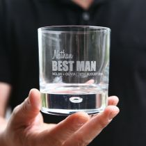 Personalised Engraved Groomsman Best Man Bridal Party Bold Series Engraved Wedding Round 305ml Scotch Glass