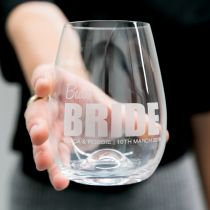 Stemless Wine Glass for the Bride