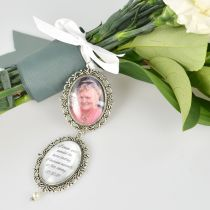 Photo and special message Double Oval Wedding Bouquet Charm of love ones past