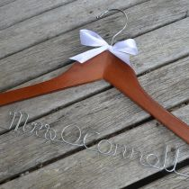 Personalised Walnut Hanger with White Satin Bow