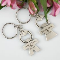 Personalised Engraved Bride and Groom Keyring with Bottle Opener Wedding Favours