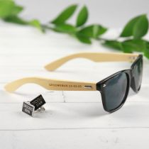 Personalised Engraved Bridal Party Wooden Black Sunglasses Present