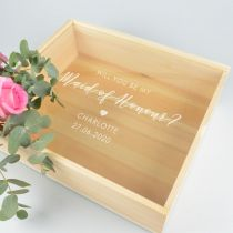 Personalised engraved maid of honour clear acrylic lid on wooden gift box