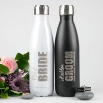 Engraved personalised 500ml white and black bridal party water bottles