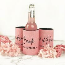 Pink & Black Printed Bride, Maid of Honour & Bridesmaid Stubby Holders Hen's Party Gift