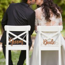 Lazer Cut Wooden Bride and Groom Wedding Chair Signs