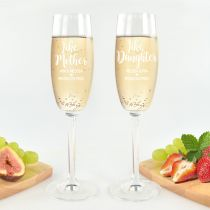 """Personalised Engraved """"like Mother Like Daughter"""" Mother's Day Champagne  Glasses Present"""