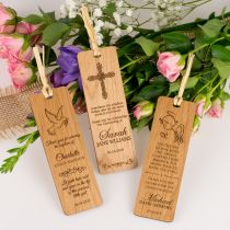 Personalised Engraved Wooden Laser-Cut Christening, Baptism and Naming Days Bookmark Gift
