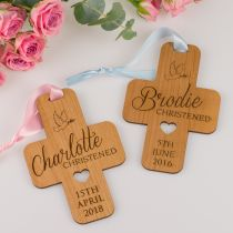 Personalised Engraved Christening Baby Girl & Boy Hanging Crosses Guest Favours.